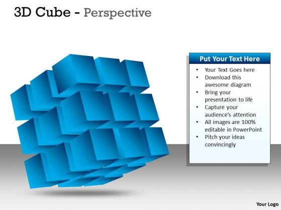 Business Diagram 3d Blue Cube Perspective Ppt Sales Diagram