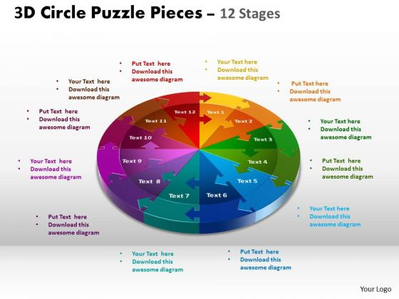 Business Diagram 3d Circle Puzzle Diagram 12 Stages Sales Diagram