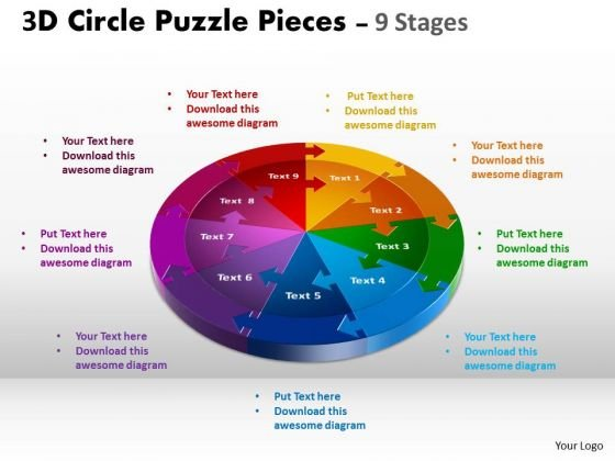 Business Diagram 3d Circle Puzzle Diagram 9 Stages Sales Diagram