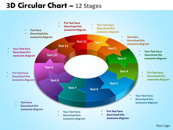 Business Diagram 3d Circular Chart 12 Stages Mba Models And Frameworks