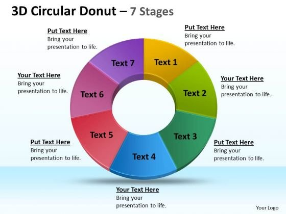 Business Diagram 3d Circular Donut 7 Circular Stages Sales Diagram