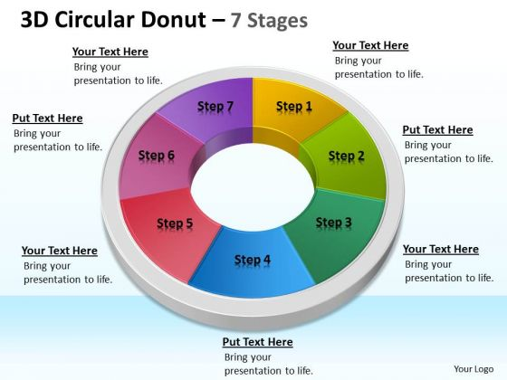 Business Diagram 3d Circular Donut 7 Stages Circular Consulting Diagram