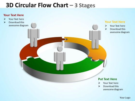 Business Diagram 3d Circular Flow Diagram Chart 3 Stages Marketing Diagram