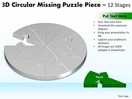 Business Diagram 3d Circular Missing Puzzle Piece 12 Stages 2 Marketing Diagram