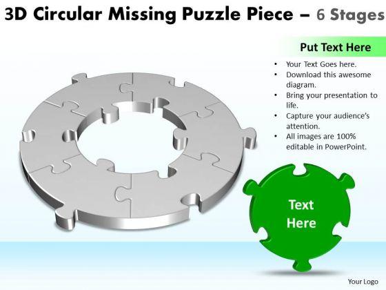 Business Diagram 3d Circular Missing Puzzle Piece 6 Stages Strategic Management