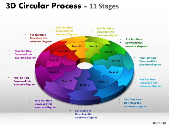 Business Diagram 3d Circular Process Cycle Diagram Chart 11 Stages Sales Diagram