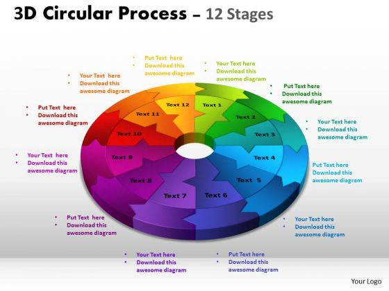 Business Diagram 3d Circular Process Cycle Diagram Chart 12 Stages Design Strategic Management