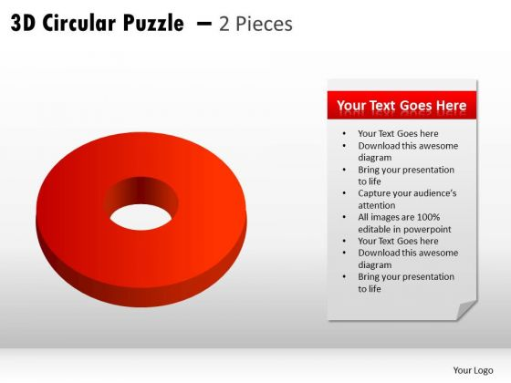 Business Diagram 3d Circular Puzzle 2 Pieces Marketing Diagram