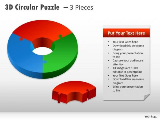Business Diagram 3d Circular Puzzle With Pieces 3 Consulting Diagram