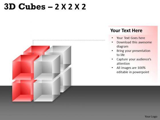 Business Diagram 3d Cubes 2x2x2 Sales Diagram