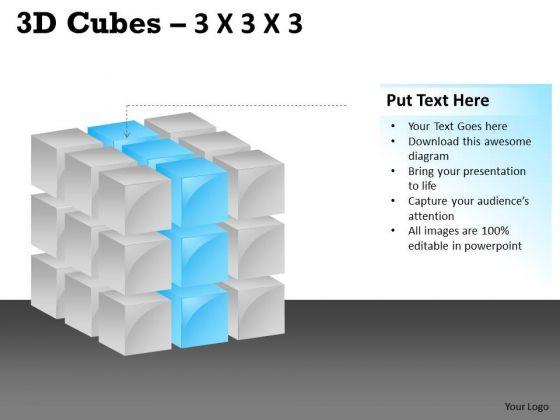 Business Diagram 3d Cubes 3x3x3 Marketing Diagram