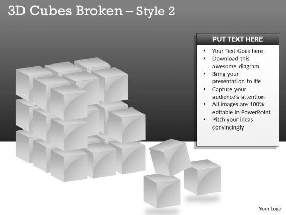 Business Diagram 3d Cubes Broken Style Business Cycle Diagram
