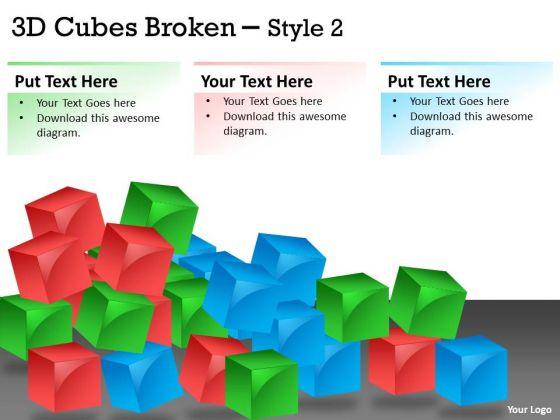 Business Diagram 3d Cubes Broken Style Marketing Diagram