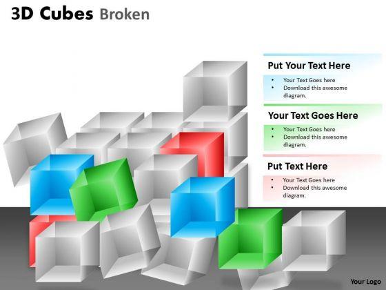 Business Diagram 3d Cubes Broken Style Sales Diagram