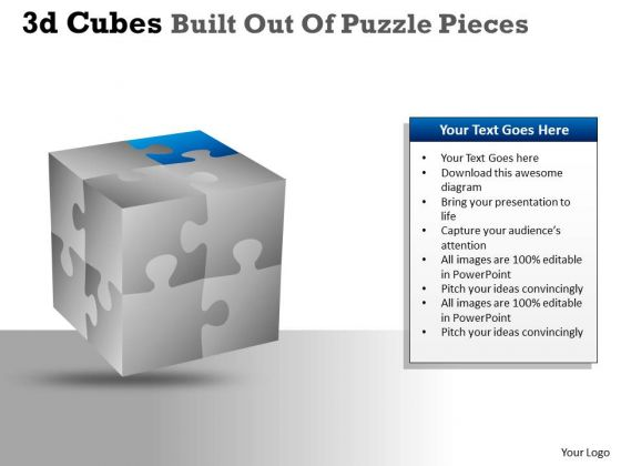 Business Diagram 3d Cubes Built Out Of Puzzle Pieces Mba Models And Frameworks
