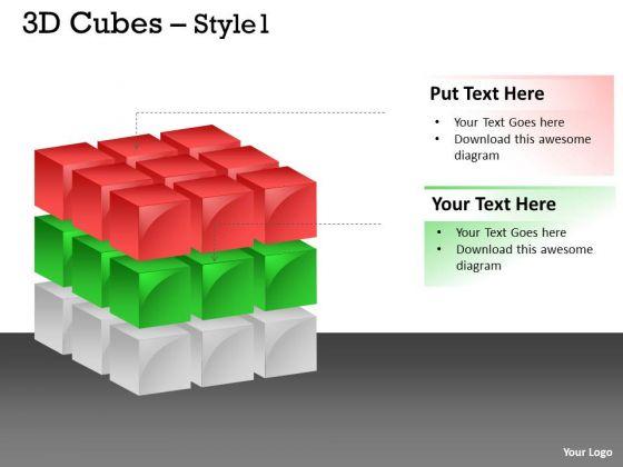 Business Diagram 3d Cubes Colorful Style Sales Diagram