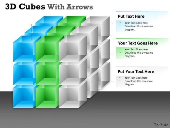 Business Diagram 3d Cubes With Arrows Marketing Diagram