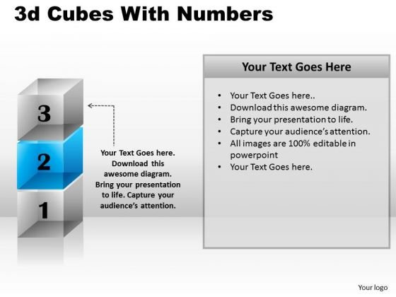Business Diagram 3d Cubes With Numbers Business Cycle Diagram