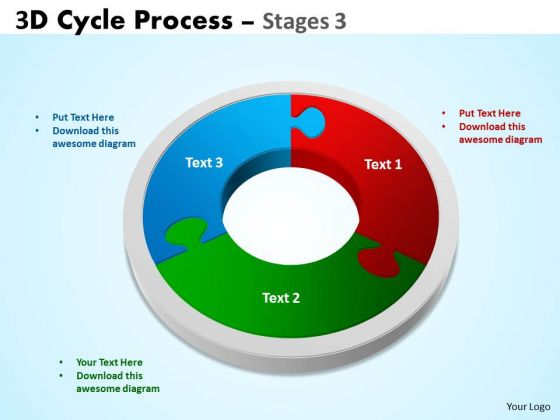 Business Diagram 3d Cycle Process Flowchart Stages 3 Sales Diagram