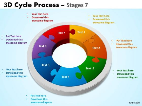 Business Diagram 3d Cycle Process Flowchart Stages 7 Style Consulting Diagram