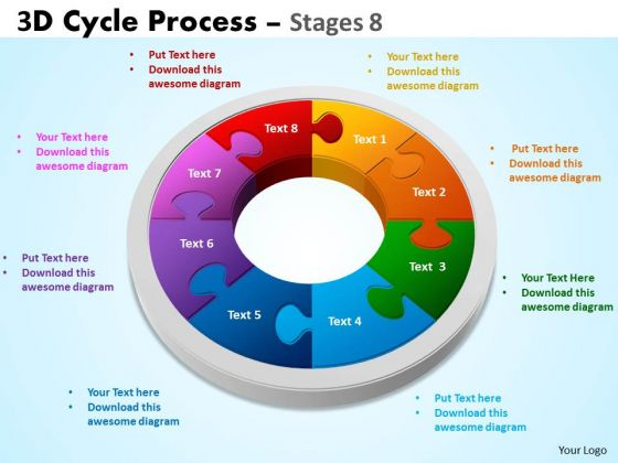 Business Diagram 3d Cycle Process Flowchart Stages 8 Sales Diagram