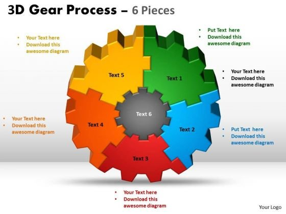 Business Diagram 3d Gear 6 Pieces Style Sales Diagram