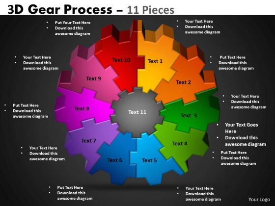 Business Diagram 3d Gear Process 11 Pieces Marketing Diagram