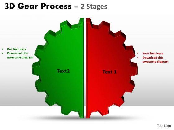 Business Diagram 3d Gear Process 2 Stages Style Sales Diagram
