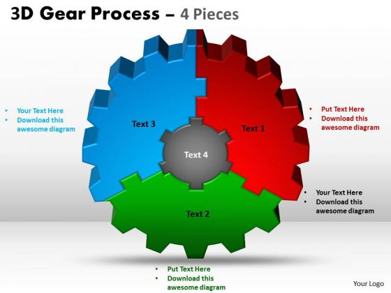 Business Diagram 3d Gear Process 4 Pieces Style Mba Models And Frameworks
