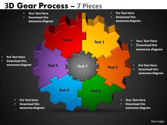 Business Diagram 3d Gear Process 7 Pieces Business Cycle Diagram