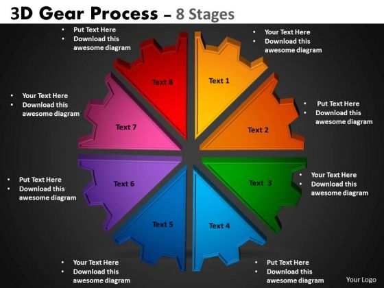 Business Diagram 3d Gear Process 8 Stages Strategy Diagram