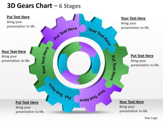 Business Diagram 3d Gears Chart 6 Stages 1 Sales Diagram