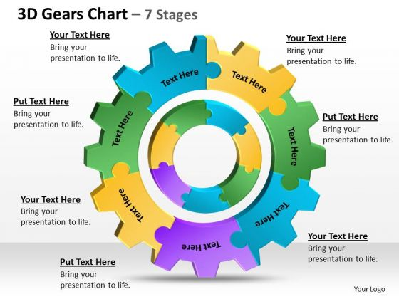 Business Diagram 3d Gears Chart 7 Stages 1 Strategy Diagram