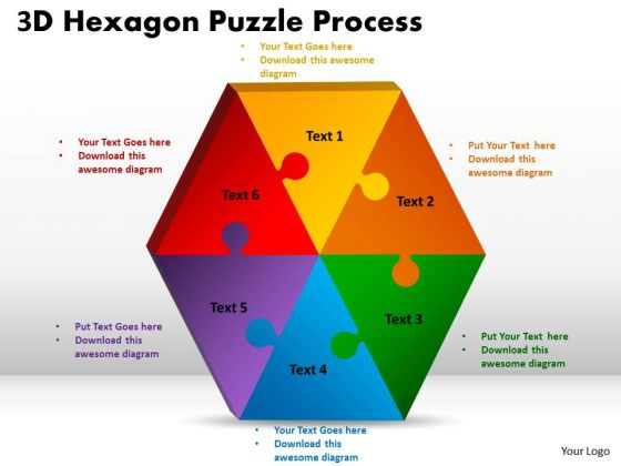 Business Diagram 3d Hexagon Puzzle Diagram Process 6 Consulting Diagram