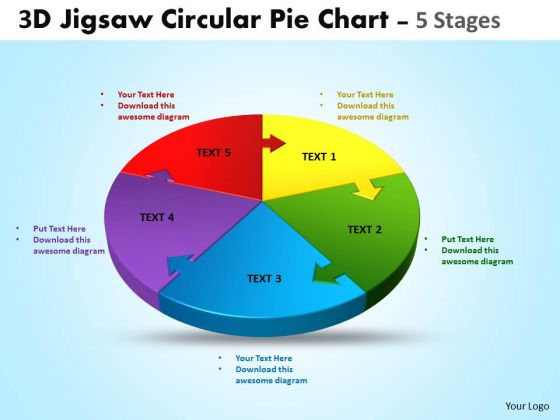 Business Diagram 3d Jigsaw Circular Templates Pie Chart 5 Stages Strategy Diagram