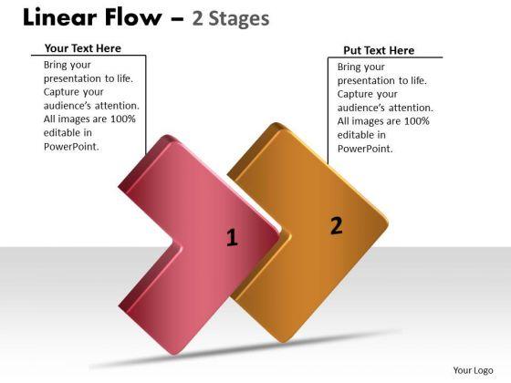 Business Diagram 3d Linear Flow 2 Stages