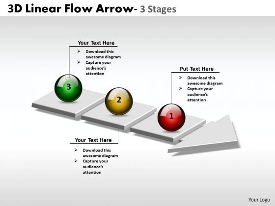 Business Diagram 3d Linear Flow Arrow 3 Stages Sales Diagram