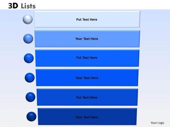 Business Diagram 3d List 6 Diagram Sales Diagram