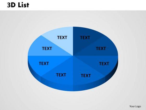 Business Diagram 3d List Circular Pie Business Finance Strategy Development