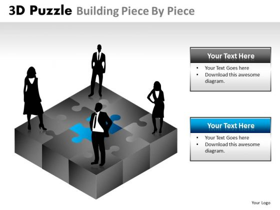 Business Diagram 3d Puzzle Building Piece By Piece Business Finance Strategy Development