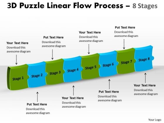 Business Diagram 3d Puzzle Linear Flow Process 8 Stages Marketing Diagram