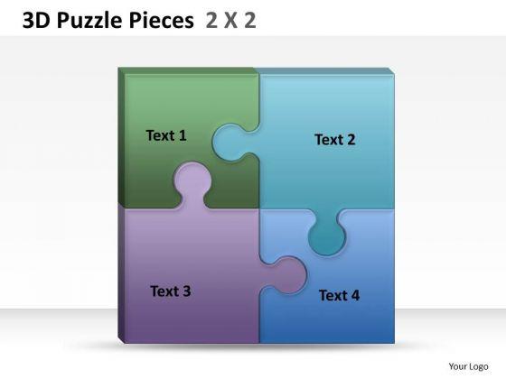 Business Diagram 3d Puzzle Pieces 2x2 Strategy Diagram