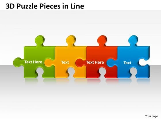 Business Diagram 3d Puzzle Pieces In Line Marketing Diagram