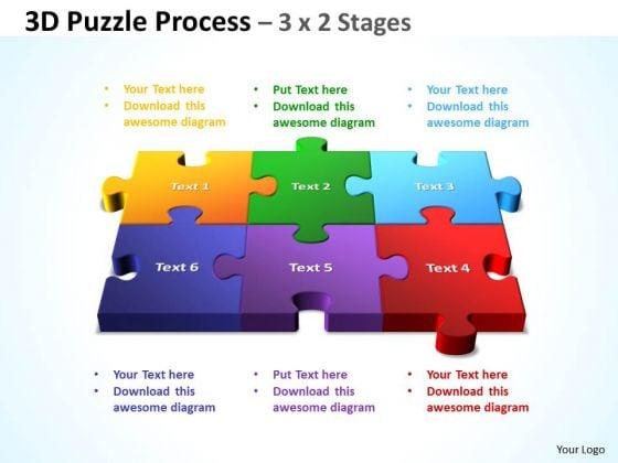 Business Diagram 3d Puzzle Process 3 X 2 Stages Sales Diagram