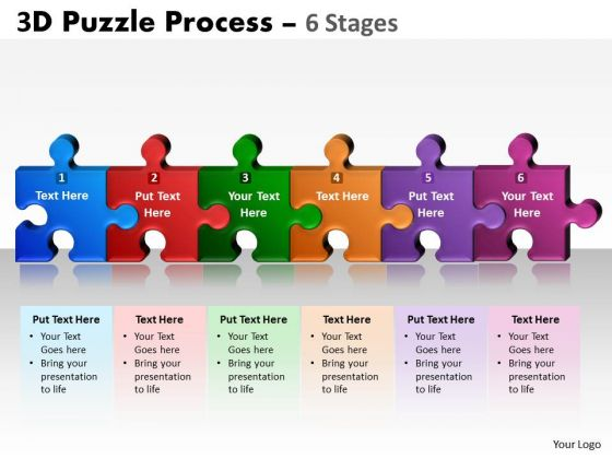 Business Diagram 3d Puzzle Process 6 Stages Strategic Management