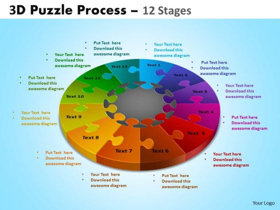 Business Diagram 3d Puzzle Process Diagram 12 Stages Business Cycle Diagram