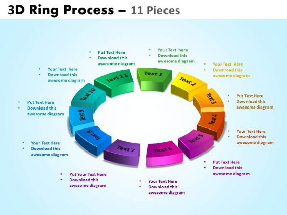 Business Diagram 3d Ring Process 11 Pieces Sales Diagram