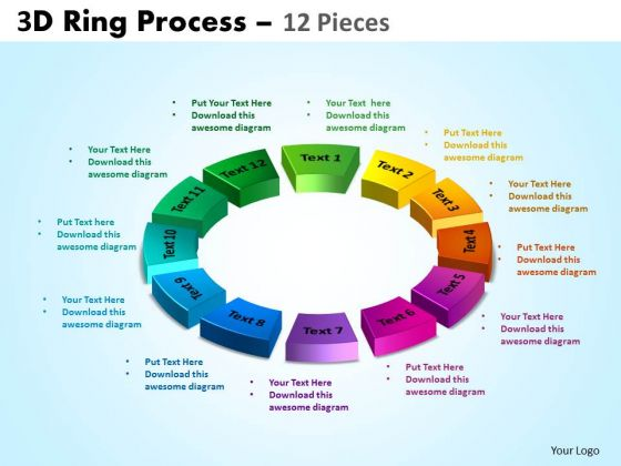 Business Diagram 3d Ring Process 12 Pieces Sales Diagram
