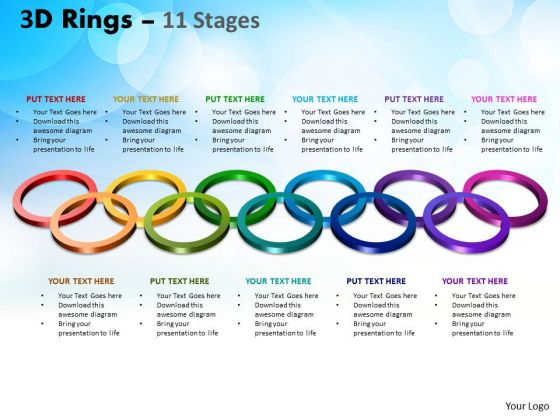 Business Diagram 3d Rings 11 Stage Marketing Diagram