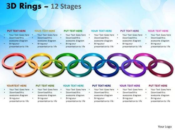 Business Diagram 3d Rings 12 Stages Sales Diagram